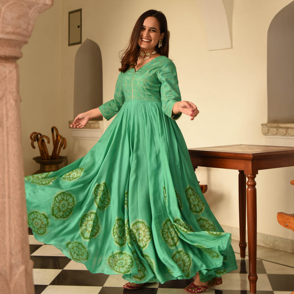 shop green cotton silk dress online at best price