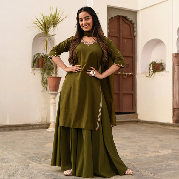 green cotton suit set