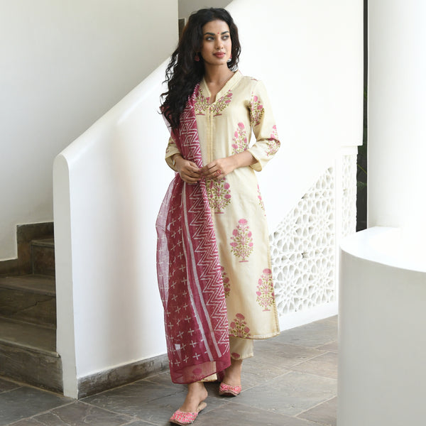 Beige Hand Block Chanderi Suit