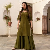 get green cotton suit with doriya dupatta online at best price
