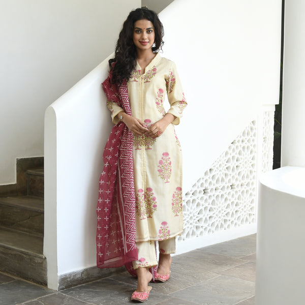 get amazing quality beige colored hand block printed suit set online