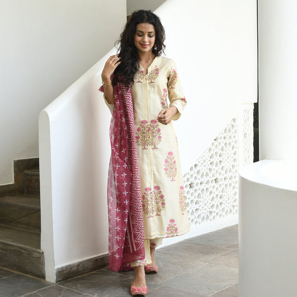 hand block printed chanderi suit with doriya dupatta
