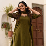 green cotton suit set with doriya dupatta