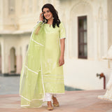 green modal atin suit set with organza dupatta