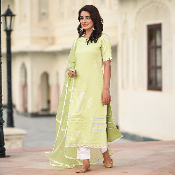 green modal satin suit set online