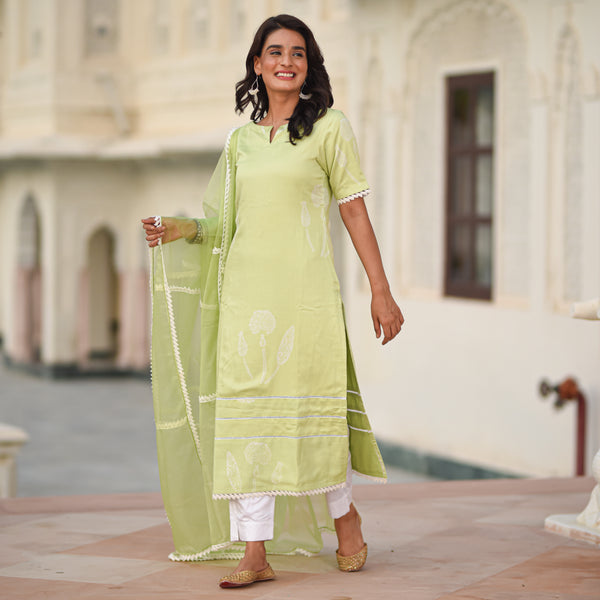 shop amazing quality green modal satin suit set online