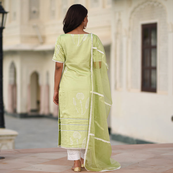 get green modal satin suit set with organza dupatta online at best price