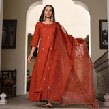Orange Embroidered cotton Suit with organza dupatta