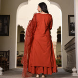 get amazing quality orange embroidered cotton suit with organza dupatta