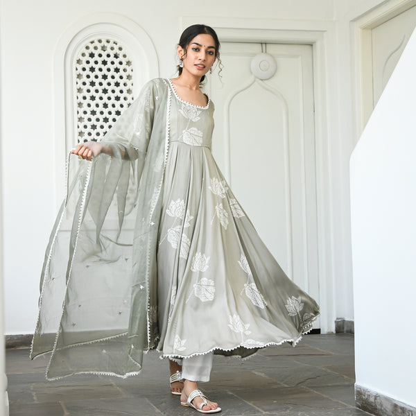 grey modal sation kurta with cotton pants and organza dupatta