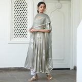 get grey and white modal sation suit set with cotton pants and organza dupatta online at best price