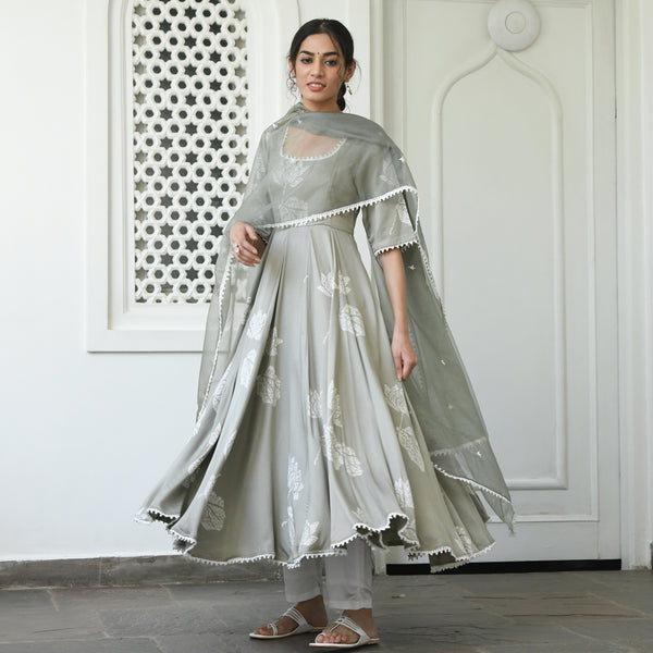grey and white modal satin suit set online