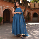 shop blue kota doriya suit set online