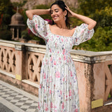 white and pink  benberg georgette dress