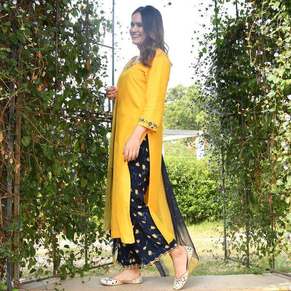 shop amazing quality mustard floral suit set online