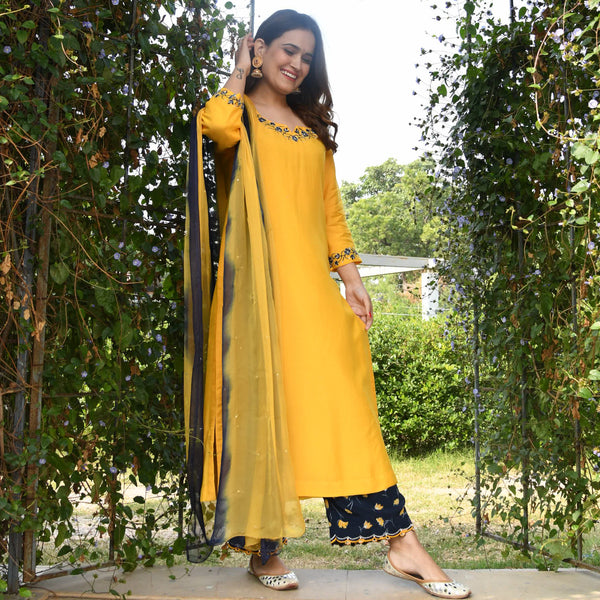 get mustard floral suit set online at best prices