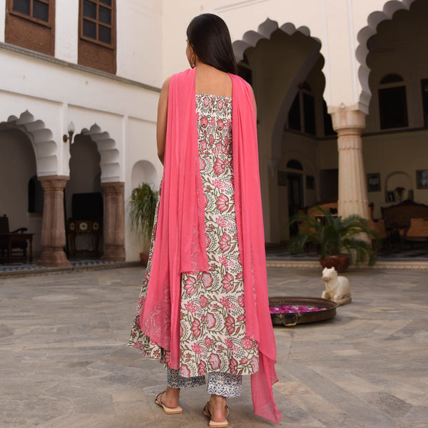 shop pink cotton suit with chiffon dupatta online at best price