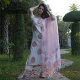 peach cotton suit with doriya dupatta