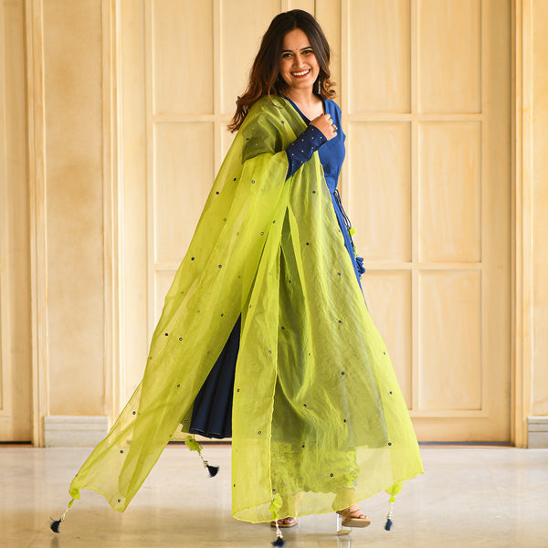 get silk crepe suit set with organza dupatta online at best prices