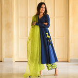 silk crepe suit with organza dupatta