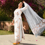 Mellow orange cotton suit with doriya dupatta