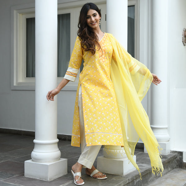 get amazing quality yellow cotton suit  online for women