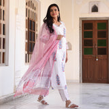 pink and white cotton suit set