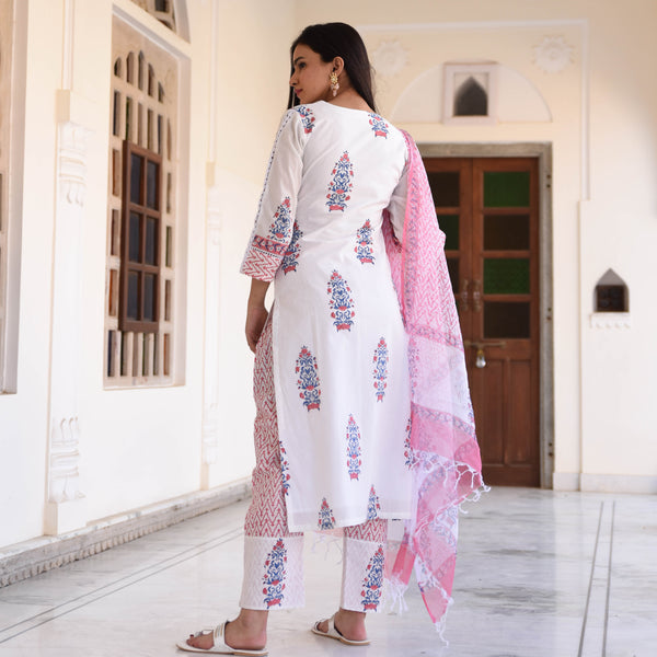 Pink cotton suit with doriya dupatta online at best price