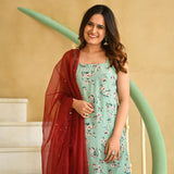 Silk crepe suit with chiffon dupatta
