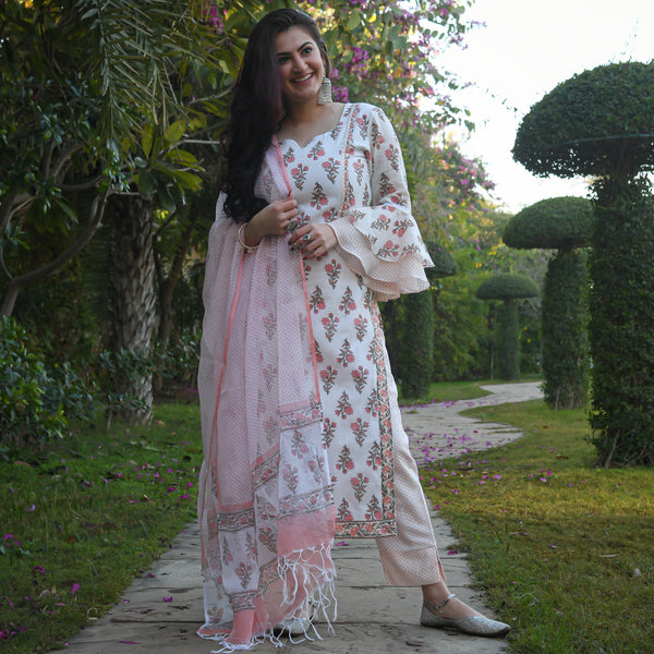 pink cotton suit set with doriya dupatta