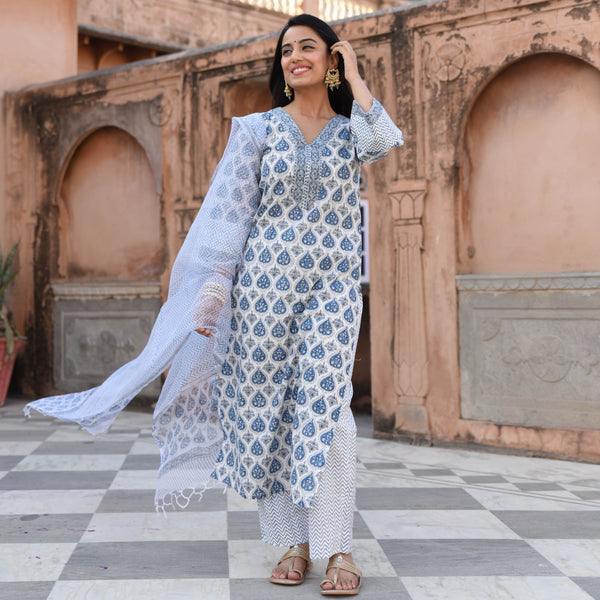 blue cotton  suit with doriya dupatta online