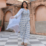 blue cotton suit with doriya dupatta