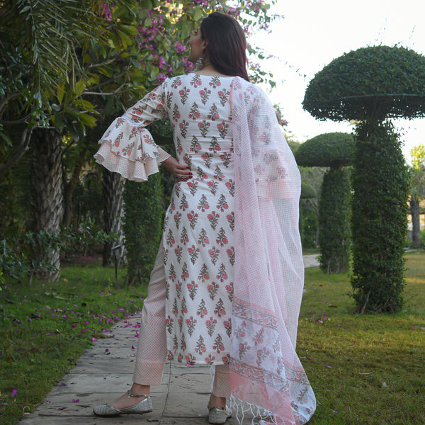 shop pink cotton suit with doriya dupatta online at best price