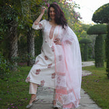 white cotton suit set with doriya dupatta