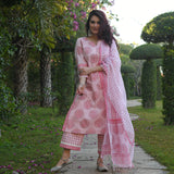polka paisley cotton suit with doriya dupatta