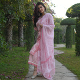 shop amazing quality polka paisley pink cotton suit set