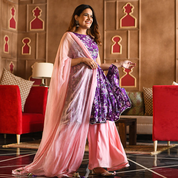 shop amazing quality pink purple floral suit set online