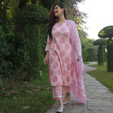 get pink  cotton suit set online at best price