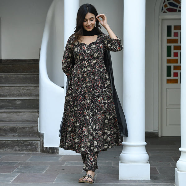 black bagru print cotton suit set
