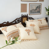 Cream Cotton Printed Bedsheet