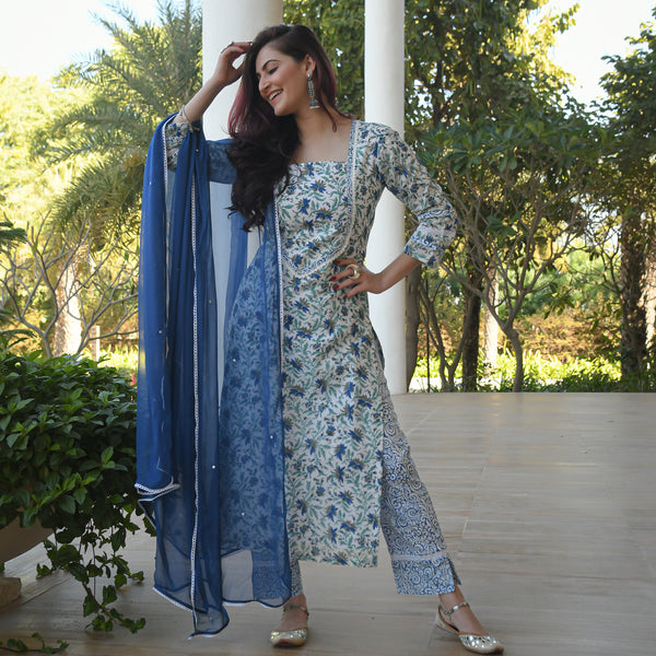 get blue cotton suit with chiffon dupatta at best prices