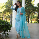 blue cotton suit set with chiffon dupatta