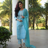 shop blue cotton suit with chiffon dupatta at best price