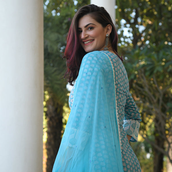 blue colored cotton suit with blue chiffon dupatta