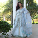shop amazing quality blue cotton suit with doriya dupaatta