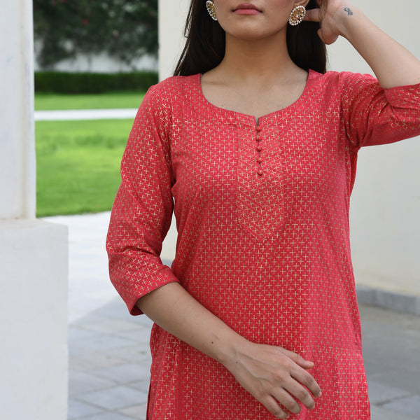 Ginger Pop Cotton Kurta Set
