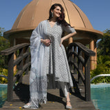 get grey  cotton suit set with doriya dupatta online at best prices