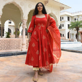 red cotton suit with chanderi dupatta