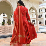 red colored cotton suit with chanderi dupatta
