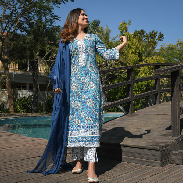 blue cotton suit with chiffon dupatta
